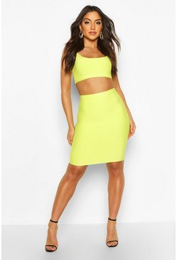 Womens Lime Bandage Midi Skirt