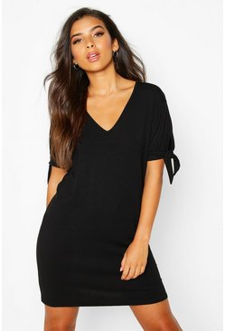 Black V Neck Tie Sleeve Jersey Shift Dress