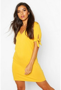 Mustard V Neck Tie Sleeve Jersey Shift Dress