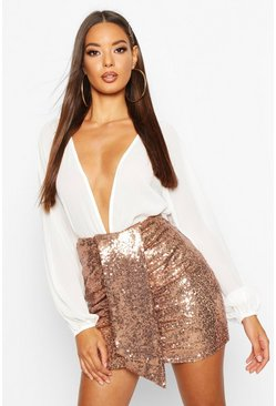 Womens Rose gold Ruched Sequin Mini Skirt