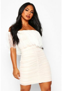 Womens White Dobby Mesh Ruched Bardot Mini Dress