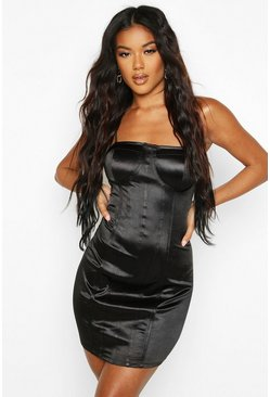 Black Stretch Satin Corset Detail Bodycon Mini Dress