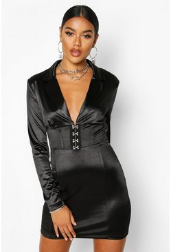 Black Stretch Satin Hook & Eye Blazer Dress
