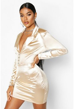 Womens Nude Stretch Satin Hook & Eye Blazer Dress