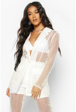 Womens Nude Organza Tailored Blazer