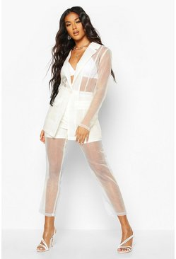 Womens Nude Organza Tapered Trouser