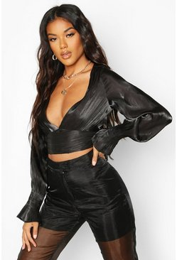 Womens Black Satin Balloon Sleeve Crop Top