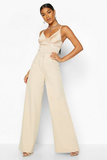 Womens Nude Woven Wide Leg Trouser