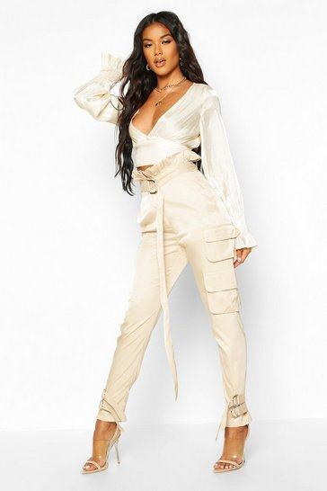 Womens Stone Paper Bag Belted Cargo Trouser