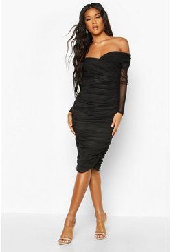 Black Off Shoulder Ruched Mesh Bodycon Midi Dress