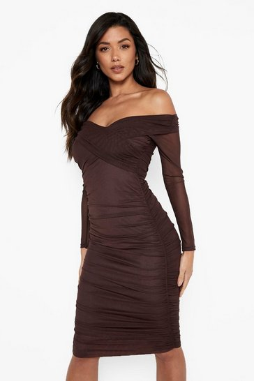 Chocolate Off Shoulder Ruched Mesh Bodycon Midi Dress