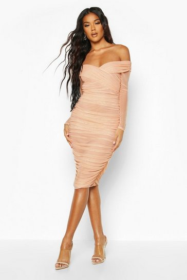 Womens Nude Off Shoulder Ruched Mesh Bodycon Midi Dress