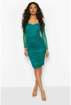 Teal Off Shoulder Ruched Mesh Bodycon Midi Dress