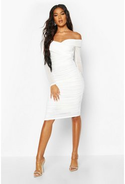 White Off Shoulder Ruched Mesh Bodycon Midi Dress