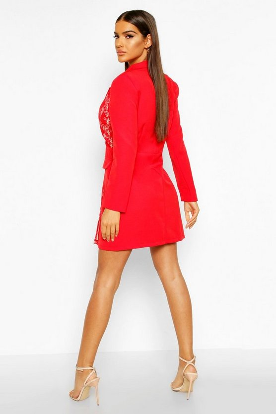 Lace Panel Blazer Dress