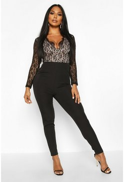 Womens Black Lace Body Plunge Tailored Jumpsuit
