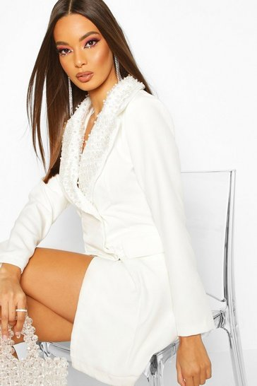 Womens White Pearl Embellished Double Breasted Blazer Dress