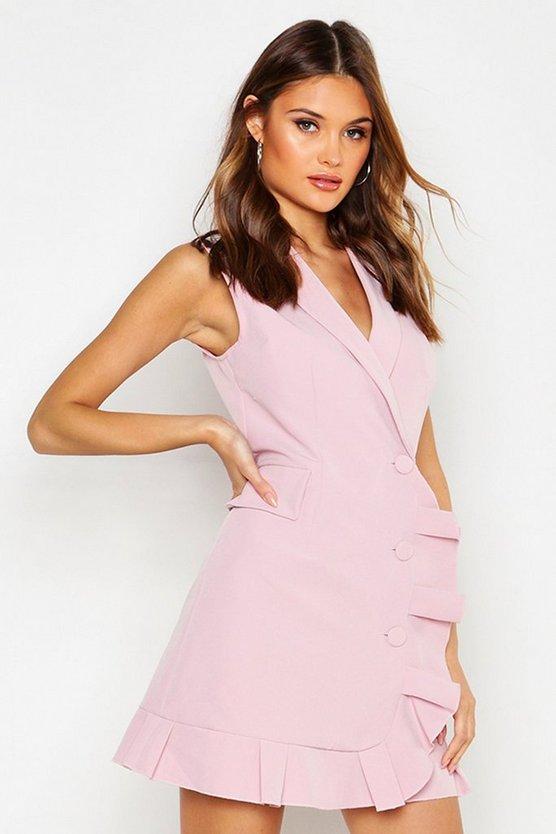 Ruffle Hem Detail Sleeveless Blazer Dress by Boohoo