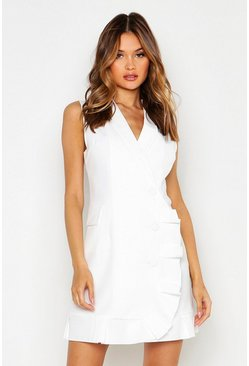 Womens White Ruffle Hem Detail Sleeveless Blazer Dress