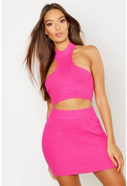 Womens Fuchsia Rib Knit Mini Skirt Co-ord