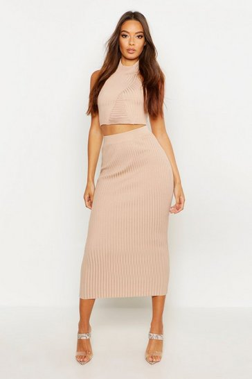 Womens Camel Twist Front Rib Knit Midi Skirt Co-ord