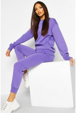 Womens Violet Basic Jogging Bottoms