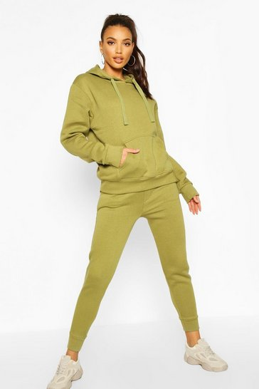 Womens Olive Basic Jogging Bottoms