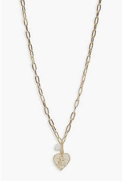 Gold Heart And Pearl Linked Necklace