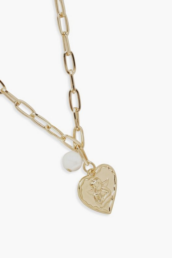 Heart And Pearl Linked Necklace