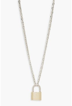 Womens Multi Contrast Padlock Chain Necklace