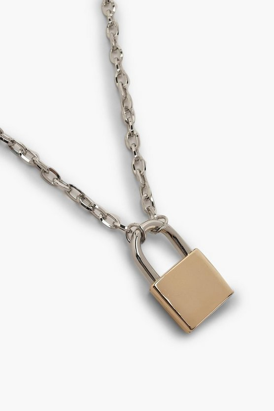 Contrast Padlock Chain Necklace
