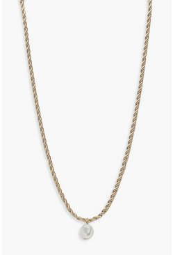 Womens Gold Pearl Twist Chain Necklace