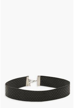 Womens Black Faux Croc PU Choker