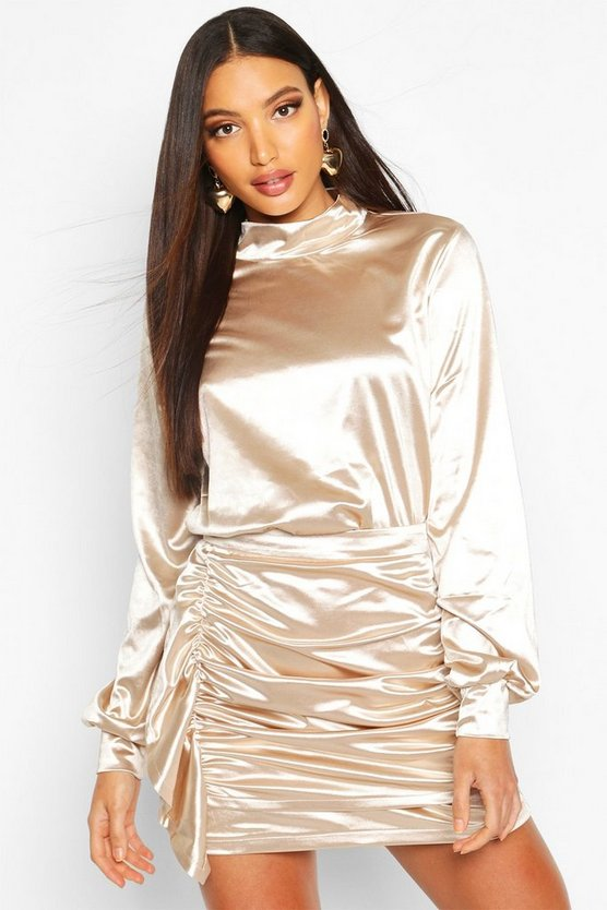 Champagne High Neck Satin Volume Sleeve Shirt