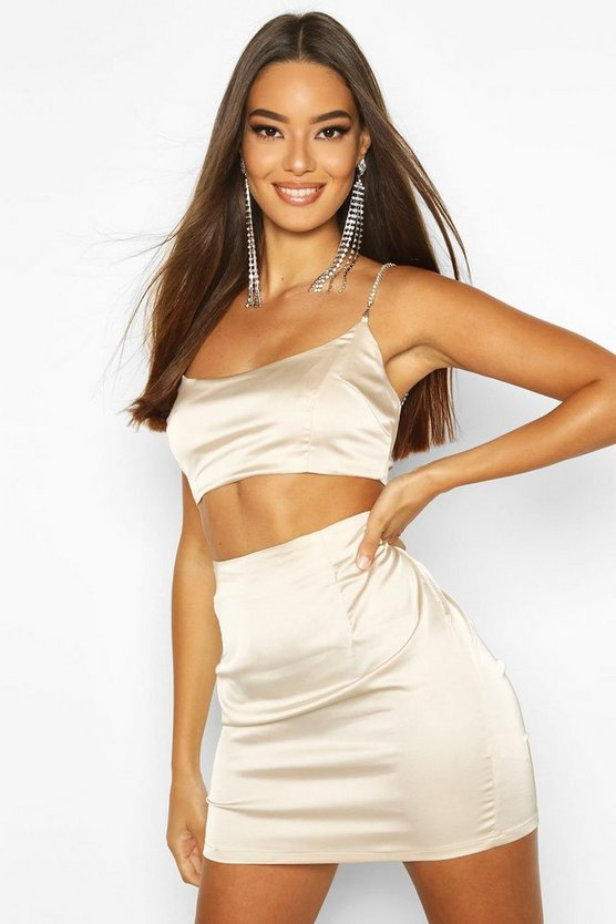 Womens Champagne Stretch Satin Mini Skirt