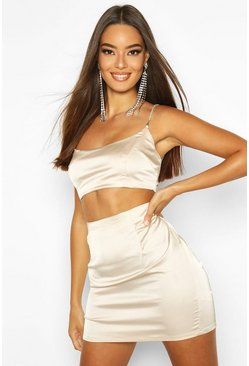 Champagne Stretch Satin Mini Skirt