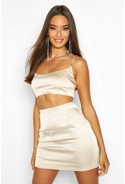 Womens Champagne Stretch Satin Diamonte Strap Bralet