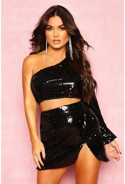 Black One Shoulder Sequin Crop Top
