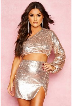 Womens Champagne One Shoulder Sequin Crop Top