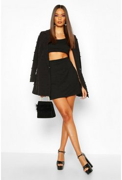Womens Black All Over Pearl Embellished Mini Skirt