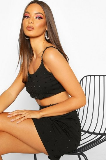 Womens Black All Over Pearl Embellished Bralet