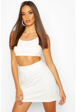 Womens White All Over Pearl Embellished Bralet