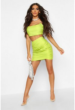Womens Lime Metallic Ruched Wrap Front Mini Skirt