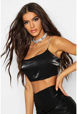 Womens Black Metallic Diamonte Strap Bralet