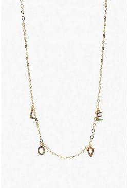 Womens Gold Rainbow Diamante LOVE Necklace