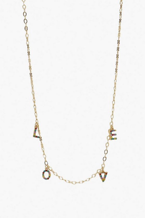 Rainbow Diamante LOVE Necklace
