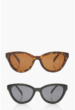 Womens Multi 2 Pack Chunky Oversized Sunglasses