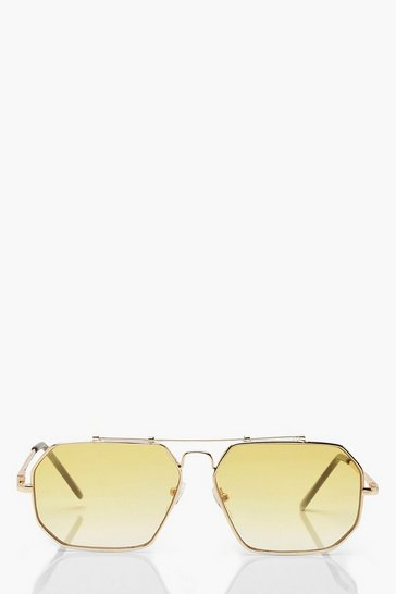Womens Gold Fade Lens Vintage Oversized Sunglasses