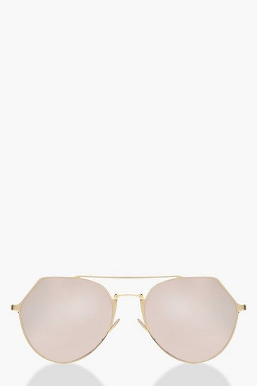 Womens Rose gold Mirrored Oversized Aviator Sunglasses