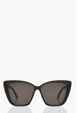 Womens Black Oversized Pointed Square Sunglasses